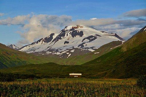 Alaska, Wildlife, Cloud Sky, Clouds, Huts, Meadow