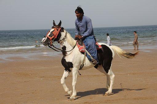 Hourseriding, Beach, Balochistan