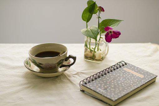 Caffee, Flowers, Break, Board, Decoration, Notebook