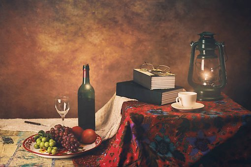 Still Life, Fruits, Books, Cup, Tea, Lamp, Wine, Glass