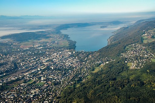 City, Lake, Aerial View, Landscape, Sky, Mountains
