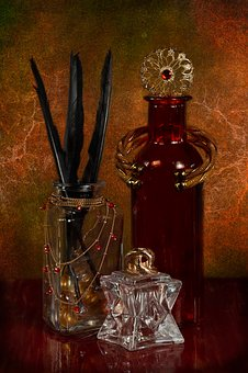 Jewelry, Feathers, Black, Bottle, Jar, Red, Gold
