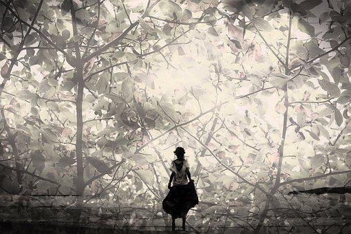 Double Exposure, Girl, Young, Trees, Nature, Fantasy