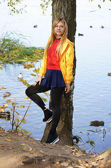 Duck, Autumn Pond, Girl, Woman, Pond, Autumn, Lake