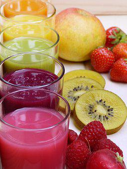 Juice, Smoothies, Colorful, Glass, Fruit, Fresh, Bio