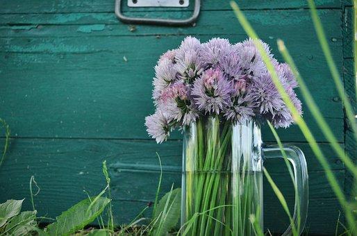 Vase, Flowers, Bouquet, Summer, Mug, Glass, Greens