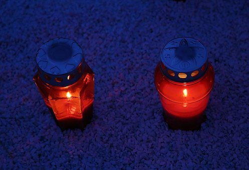 Two Red Candles, Lantern, Illumination, Light, Evening