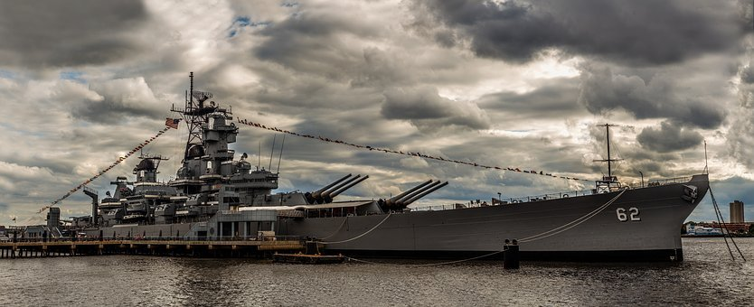 Uss New Jersey, Battleship, Warship, Water, Military