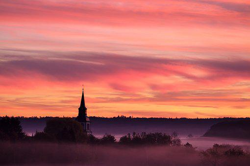 Sky, Fog, Steam, Morgenrot, Sunrise, Clouds, Steeple