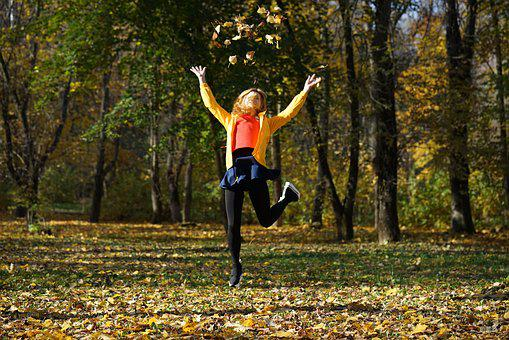 Jump, Leaves, Autumn, In The Fall Of, Landscape, Park