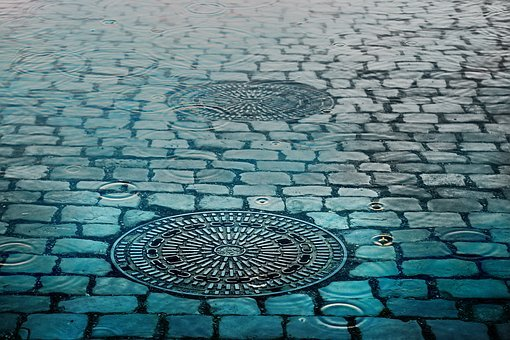 Pavement, Water, Rain, Manhole, Cover, Street, City
