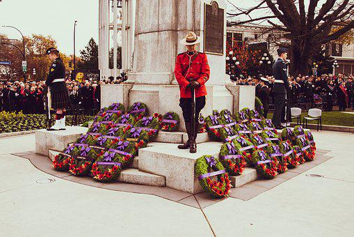 Remembrance Day, Poppy, Monument, Wreath, Red, Bow