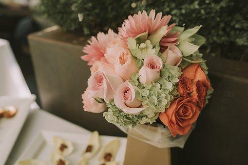Floral, Bouquet, Pink, Roses, White, Arrangement