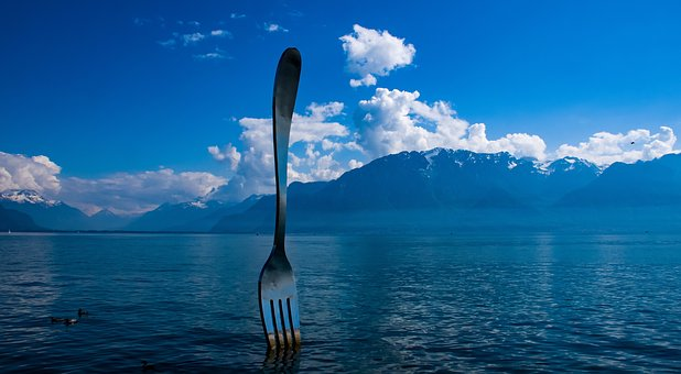 Landscape, Mountain, Lake, Sculpture, Fork, Clouds