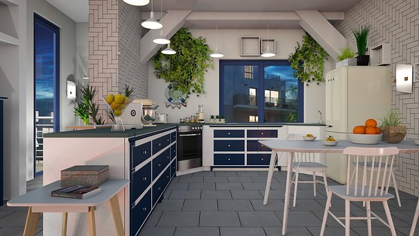 Kitchen, Blue, White, Cooking, Design, Table, Chair
