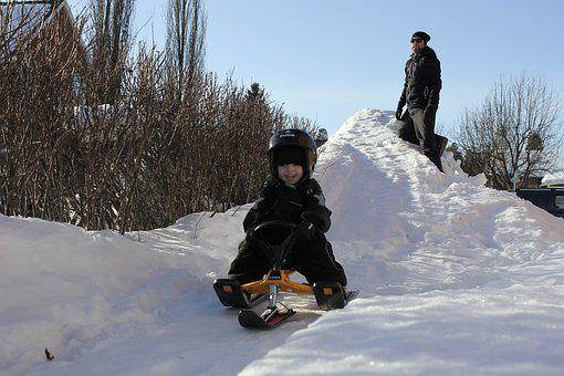 Sledding, Children, Backe, Play, Helmet, Winter, Snow