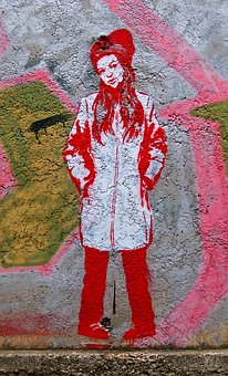 Graffiti, Girl, Wall, Young, Urban, Street Art