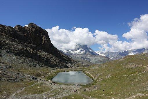Switzerland, Alps, The Matterhorn, Lake, Mountains