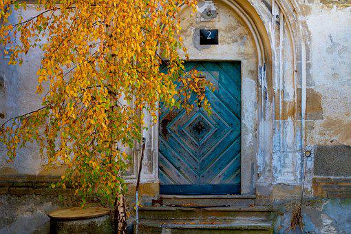Facade, Door, Old, Blue, Autumn, Leaves, Architecture