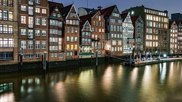 Hamburg, Fleet, Architecture, Building, Water