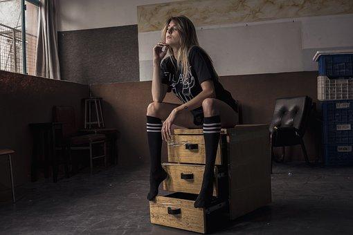 Model, Portrait, Lingerie, Face, Feet, Legs, Beautiful
