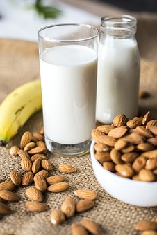Almond, Almond Milk, Banana, Bottle, Bowl, Brown