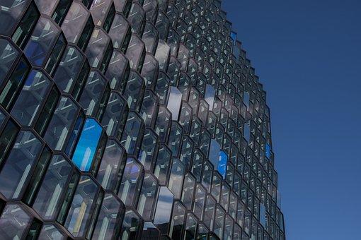 City, Opera, Architecture, Glass, Iceland, Blue