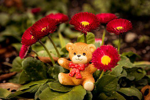 Bear, Toy, Berries, Porcelain, Fall, Bow, Happy