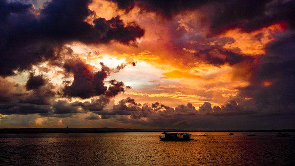 Sea, Boat, Ocean, Sunset, Sky, Landscape, Ship, Evening