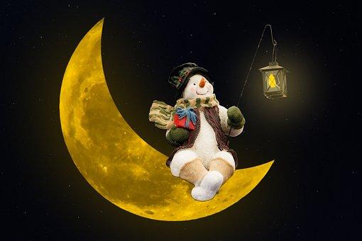 Emotions, Moon, Star, Snowman, Lantern, Light, Fantasy