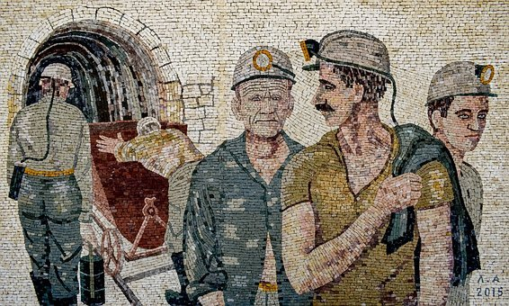 Miners, Workers, Men, Mine, Wall, Mosaic, Art, Work