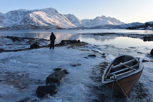 Estuary, Snow, Fjord, Scenic, Winter, Mountain, Norway