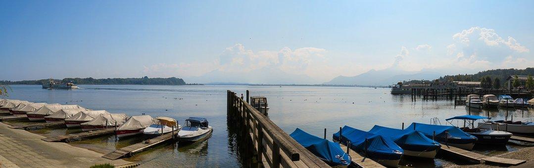 Nature, Landscape, Lake, Chiemsee, Bank, Port, Panorama