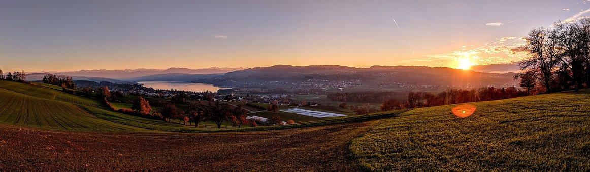 Sunset, Panorama, Landscape, Nature, Scenic