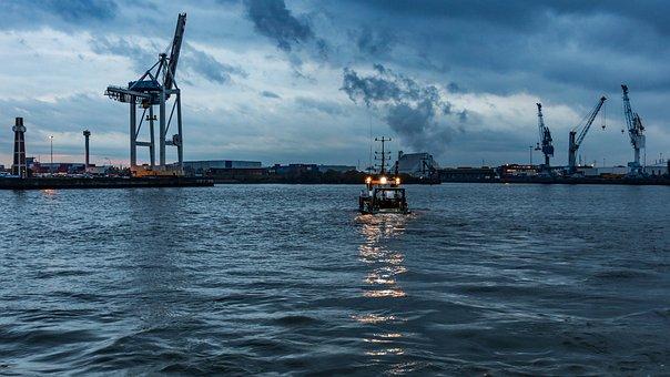 Hamburg, Elbe, Boat, Water, Port, Maritime, Cranes
