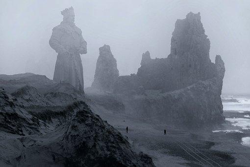 Fantasy, Ruin, Fog, Sea, Architecture, Gothic