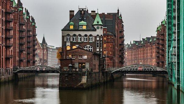 Speicherstadt, Hamburg, Castle, Moated Castle