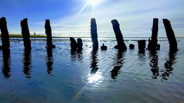 North Sea, Watts, Wadden Sea, Water, Lighting