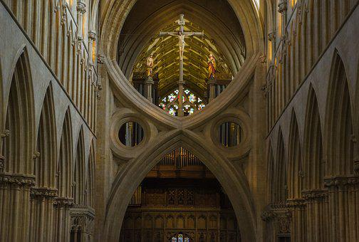 Wells, Cathedral, Scissor Arches, England, Architecture