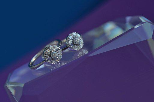 Rings, Silver, White Gold, Purple, Blue, Glass