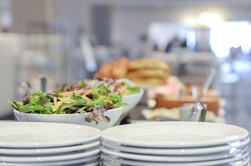 Bokeh, Plates, Salad, Bread, Cinematic, Serving