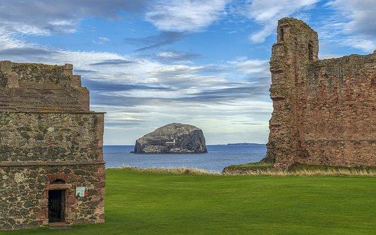 Tantallon Castle, Bass Rock, Ruin, Coast, Castle, Sea