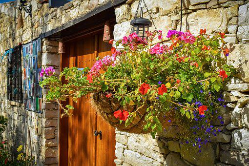 Wall Hung Flower Pot, Door, Entrance, Architecture
