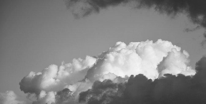 Clouds, Sky, White, Blue, Fluffy, Dark, Skyline, Air