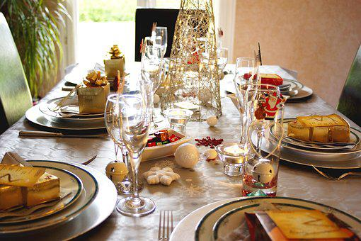 Table, Christmas, Xmas, Meals, Party, Decoration, Gift