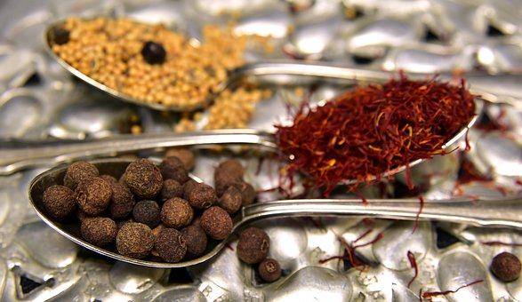 Spices, Allspice, Saffron, Mustard Seeds, Teaspoon