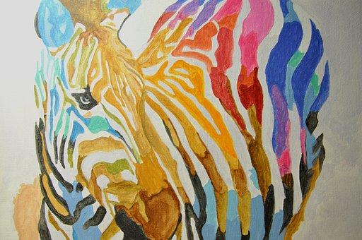 Zebra, Paint, Color
