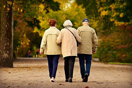 People, Three, Elderly, Walking, Together, Togetherness