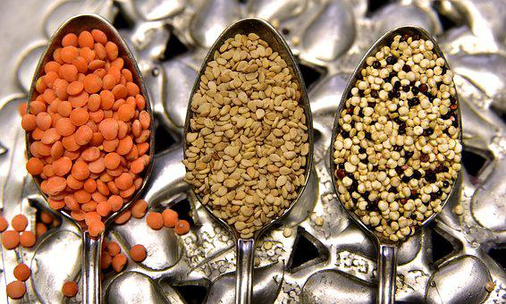Lenses, Red Lentils, Small, Food, Seeds, Sesame
