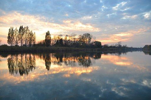 Reflection, Lake, Light, Smoke, Sunset, Tisza, Wood
